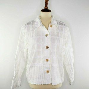 Produce Company Chenille White Button Front Shirt